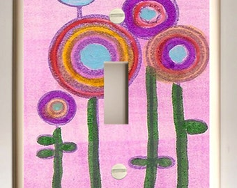 Single Light Switch Plate -  Abstract Blue Bird, Circle Flowers on Pink Background