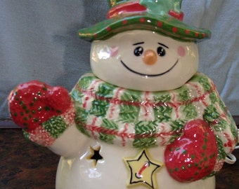 Lighted Ceramic Snowman