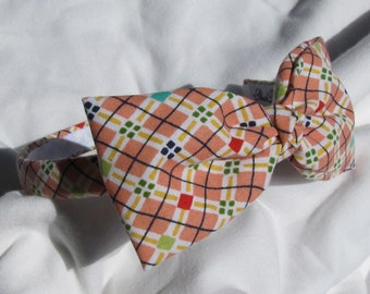 Harlequin Plaid Bow Tie Headband Hairband