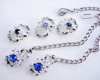 On Sale-Lovely Vintage Blue Rhinestone Connector Pieces with Shepherd Hook and Chain Clasp