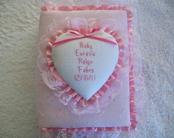 BABY GIRL Personalized Pastel Eyelet Pocket Photo Album / Brag Brag