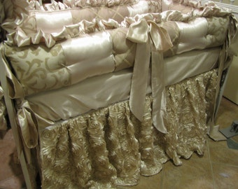 Custom Luxury crib set Latte and Taupe color scheme  Neutral Bedding