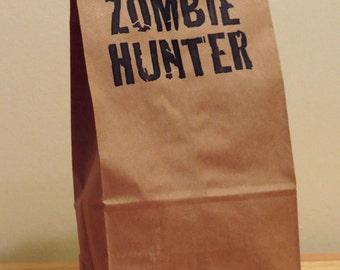 5 Zombie Hunter Lunch Bags - Back to School - Party Bags - Favor Bags - Snack Bag - Brown Paper Bag - Printed Kraft Bag