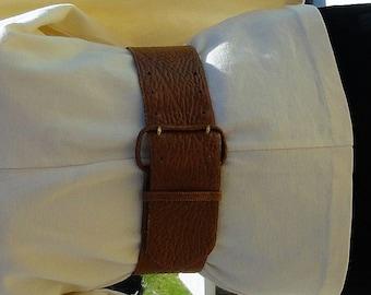 Vintage 1980s Pierre Cardin Wide Leather Cowhide Leather Belt size S-M