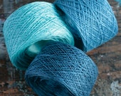Linen yarn thread --  three  balls -- blue -- 5-ply.