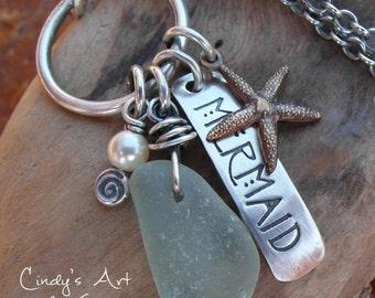 Mermaid Beach Glass Necklace Hand Stamped Starfish Pearl Jewelry