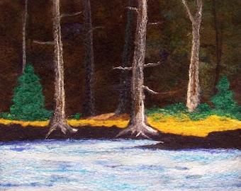 No.751 Deep Woods Too - Needlefelt Art XL - Wool Painting