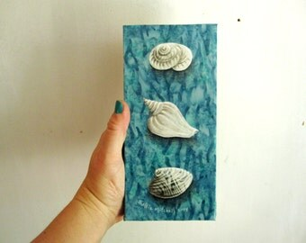 Beach decor art, cottage chic, Sea Finds, seashells ocean blue summer, sale clearance, Original Fabric on Wood art box