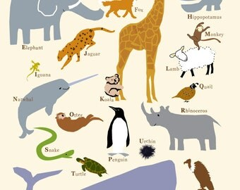 Animal alphabet print 13 x 19 inches premium hand made print nursery wall art