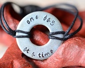One Day At A Time Metal Stamped Bracelet - Long Distance Relationship / Military / Deployment