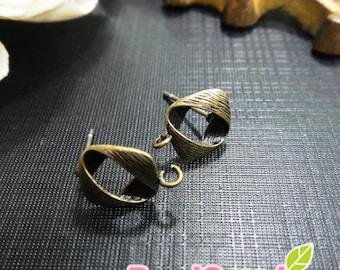 FN-ER-03048 -Nickel Free, Antique Brass, Petite diamond earrings, 2 pairs
