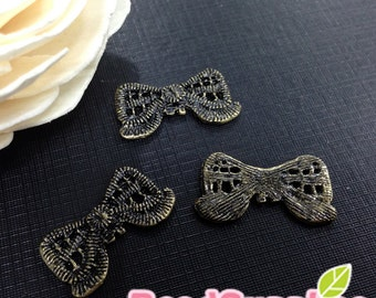 CH-ME-03334 - Nickel Free, Antique Brass,Lace ribbon bow, 4 pcs