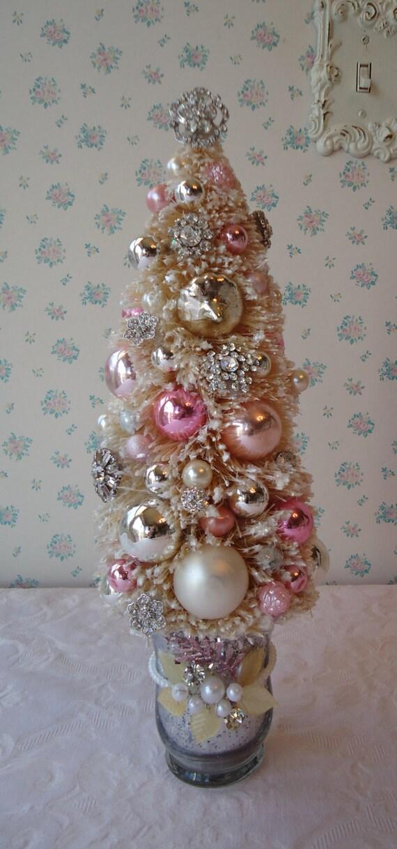 Shabby bottle brush christmas tree in mercury by illusiveswan