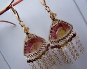 Carved Watermelon Tourmaline slice, sapphire rondelles, 14k gold filled, chandelier earrings