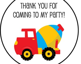 addresss labels, round or square, construction vehicle, set of 20