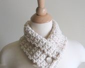 Cream Neck Cozy, Neck Warmer, Cowl, with a Shades of Beige Button - Women - Winter Scarf - Autumn Scarf