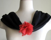 Casual Comfort Cowl, Shoulder Wrap, Scarf - Black with Red and White Polka Dot Chiffon  Flower - Valentine's Day
