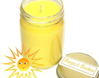 Breezes and Sunshine Scent Mason Jar Candle 12 Oz Cirus Floral Handmade
