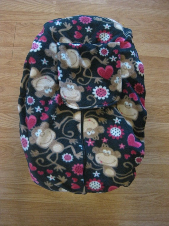 Monkey Fleece Infant Car Seat Cover By Hollyscreations On Etsy