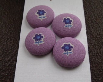 Wearable Sew On Fabric Covered Buttons - Size 36 or  7/8 inches  Purple Flowers