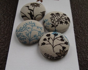 Wearable Sew On Fabric Covered Buttons - Size 36 or  7/8 inches  Brown and Blue Flowers and Branches