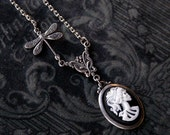 Skeleton Lady Cameo Necklace- Choose a color