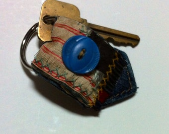 Key Chain blue jean and crazy quilt