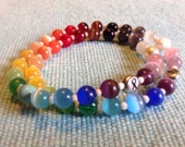 Double Rainbow  Custom Cat's Eye Beaded Cancer Awareness Bracelet- 100% donation