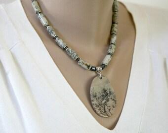 Big Bold Spotted Jasper Pendant Necklace