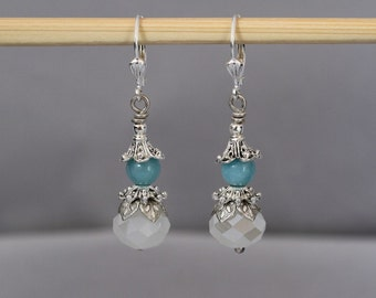 Ocean Blue Amazonite and Snow White Faceted Rhondelle Antiqued Silver Dangle Earrings