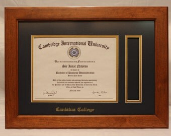 Diploma Frame, Tassel Frame, Canisius College, Solid Cherry