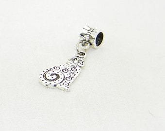 Tibetan silver swirl cat dangle charm bead for European bracelets and necklaces
