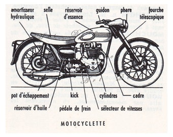 vintage French motorcycle print, 'Motocyclette', digital download sheet no. 854