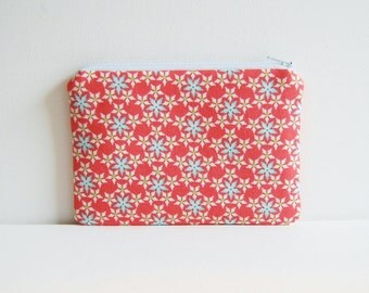 Small Zipper Pouch, Coin Purse, Gift For Her, Women and Teens, Christmas Snowflakes in Coral, Have A Sheri Berry Holiday