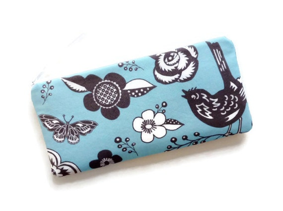 Long Zipper Pouch Pencil Case Woodcut Garden in Blue Paula Prass Woodland Delight