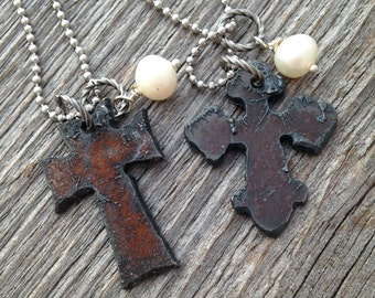Rustic Luxe Recycled Metal Cross Necklace with Freshwater Pearl - Round or Square Corners - Small