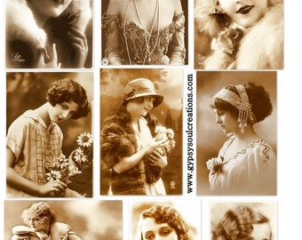 Vintage Sepia Beauties - Altered Arts -  Digital Collage Sheet