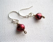 Cranberry Red Pearl Earrings. Sterling Silver & Petite Freshwater Pearl Earrings. UK Seller. Red Pearl Jewellery - Contemporary Jewellery