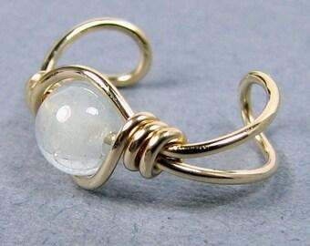 Aquamarine Ear Cuff 14k Gold Filled Ear Cuff Gold Ear Cuff or Choice Blue Ear Cuff Non Pierced Cartilage Earring
