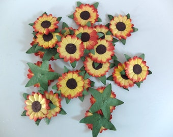 50 mulberry paper sunflower embellishment