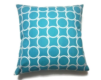 Decorative Pillow Cover Turquoise White Modern Circle Damask Design Same Fabric Front and Back Throw Toss Accent 18x18 inch x