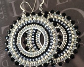 Beaded Earrings Black Crystal GODDESS Seed Bead Hoop Earrings