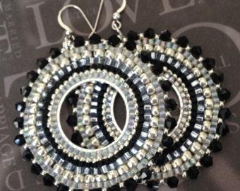 Beaded Earrings Black Crystal GODDESS Seed Bead Hoop Earrings