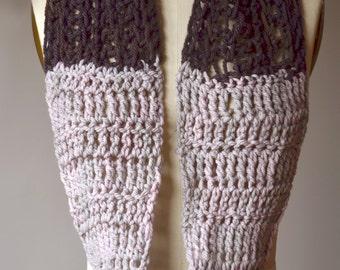 SALE - two-color neutrals loop scarf - crochet mesh merino pearl brown cowl
