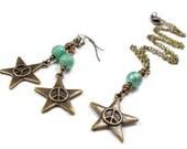 Plus Size, Little Twinkle Star in Starlit Seafoam, Necklace and Earring Set, Plus Size Jewelry