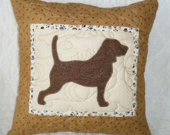 Quilted Dog throw pillow - Beagle