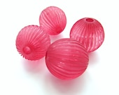 Giant Cranberry Pink Ribbed Vintage Plastic Round Beads, 23mm - 4 pieces