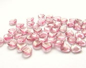 Shimmering Light Pink Baby Glass Rose Petals, 8mm x 7mm - 50 pieces