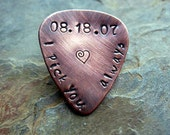 Hand Stamped Personalized Guitar Pick - Custom Copper Guitar Pick, I Pick You Always, Hand Stamped, Mens Gift, Musical Gift, Wedding Date
