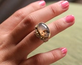 RESERVED   Montana Moss Agate 18k Gold Bezel Silver Band Cocktail Ring
